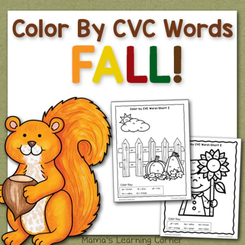 Fall Color By CVC Words Worksheets