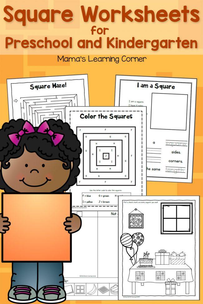 Square Worksheets for Preschool and Kindergarten