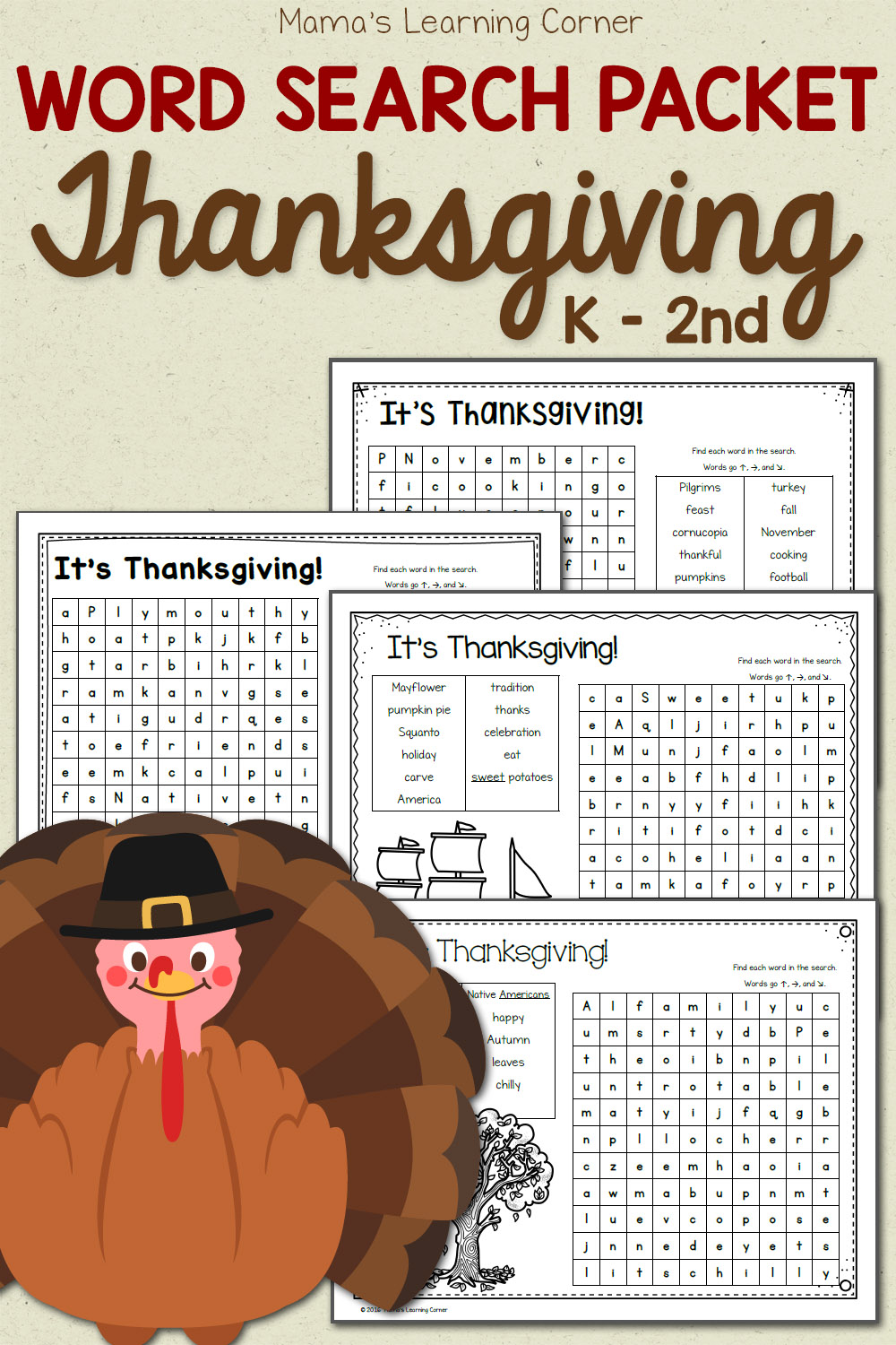 Thanksgiving Word Search Packet - Mamas Learning Corner