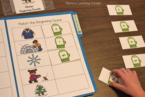 Winter File Folder Games Beginning Sounds
