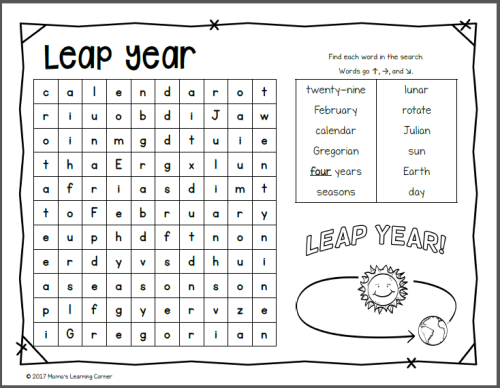 February Word Search Packet