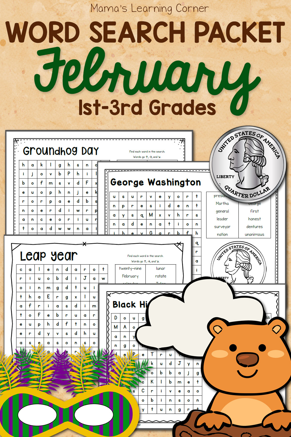 hight resolution of February Word Search Packet - Mamas Learning Corner