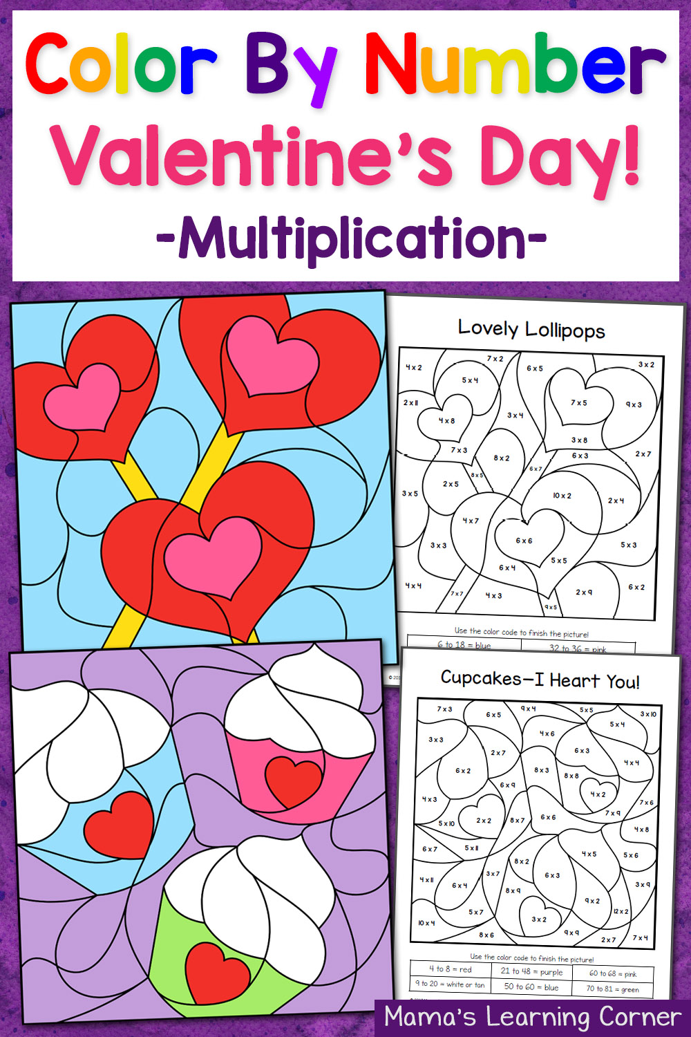 medium resolution of Valentine's Day Color By Number Multiplication Worksheets - Mamas Learning  Corner