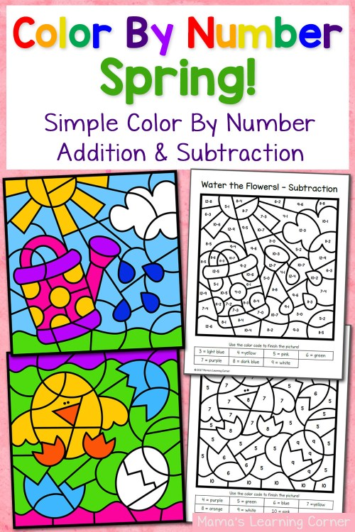 small resolution of Spring Color By Number Worksheets with Simple Numbers plus Addition and  Subtraction - Mamas Learning Corner