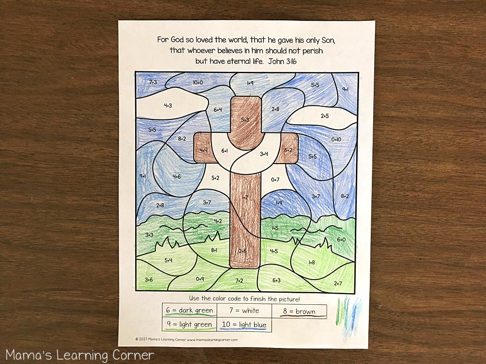 Christian Easter Color By Number Worksheet Cross