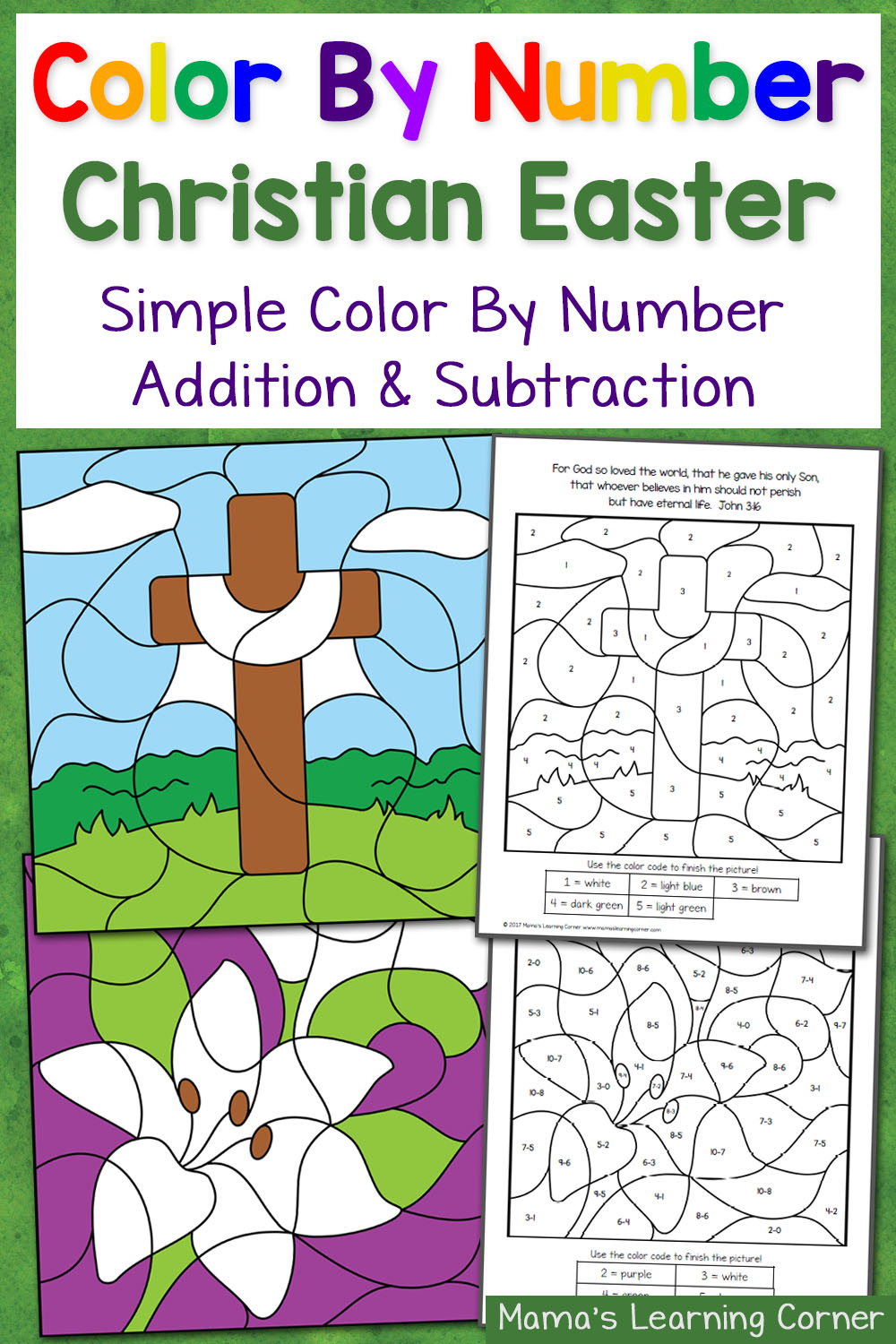medium resolution of Christian Easter Color By Number Worksheets - Mamas Learning Corner