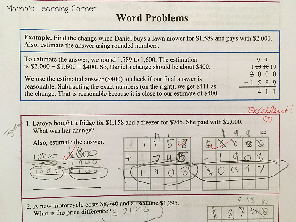Math Mammoth Word Problems 3B