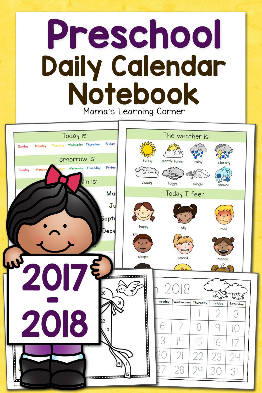 Preschool Calendar Notebook - Mamas Learning Corner