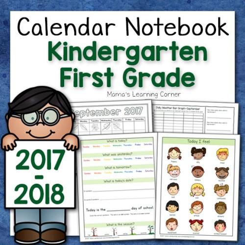 Kindergarten Calendar Notebook 2017 2018