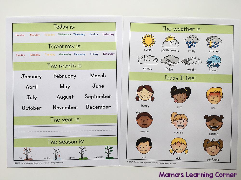 Preschool Calendar Notebook Today Is 2017