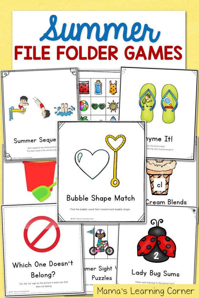 Summer File Folder Games - Math and Literacy