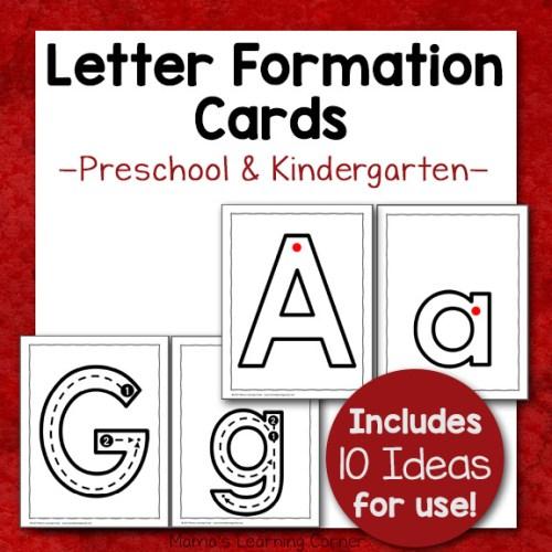 Letter Formation Cards for Preschool and Kindergarten