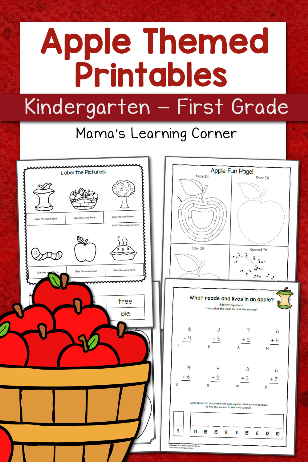 medium resolution of Apple Worksheets for Kindergarten-First Grade - Mamas Learning Corner