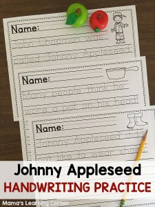 Johnny Appleseed Handwriting Practice Worksheets