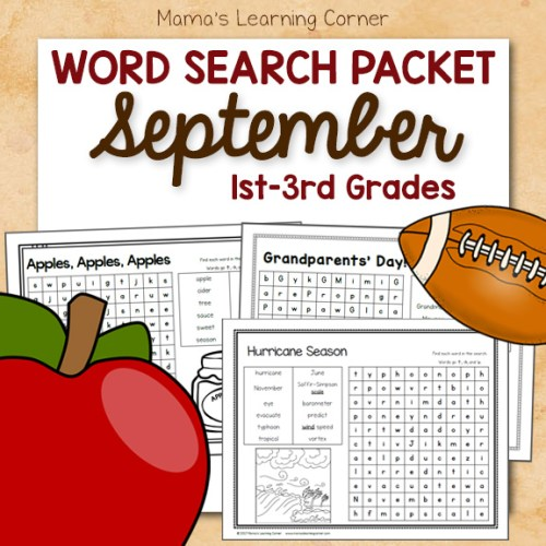 September Word Search Packet