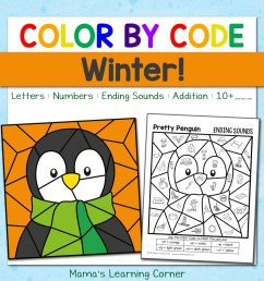 Winter Color By Code Worksheets - Mamas Learning Corner [ 1152 x 1152 Pixel ]