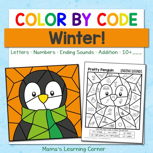 small resolution of Winter Color By Code Worksheets - Mamas Learning Corner