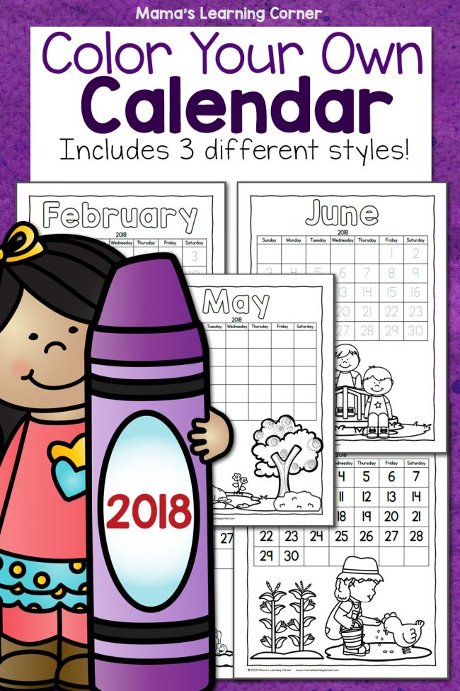 Color Your Own Calendar 2018 - Mamas Learning Corner