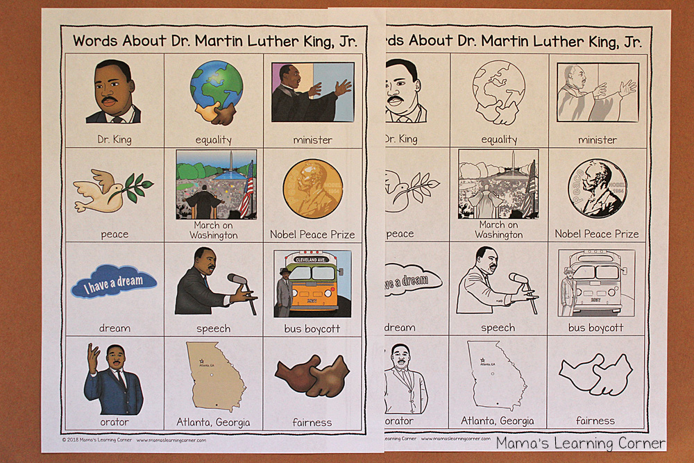 Martin Luther King Writing Booklet Picture Dictionary