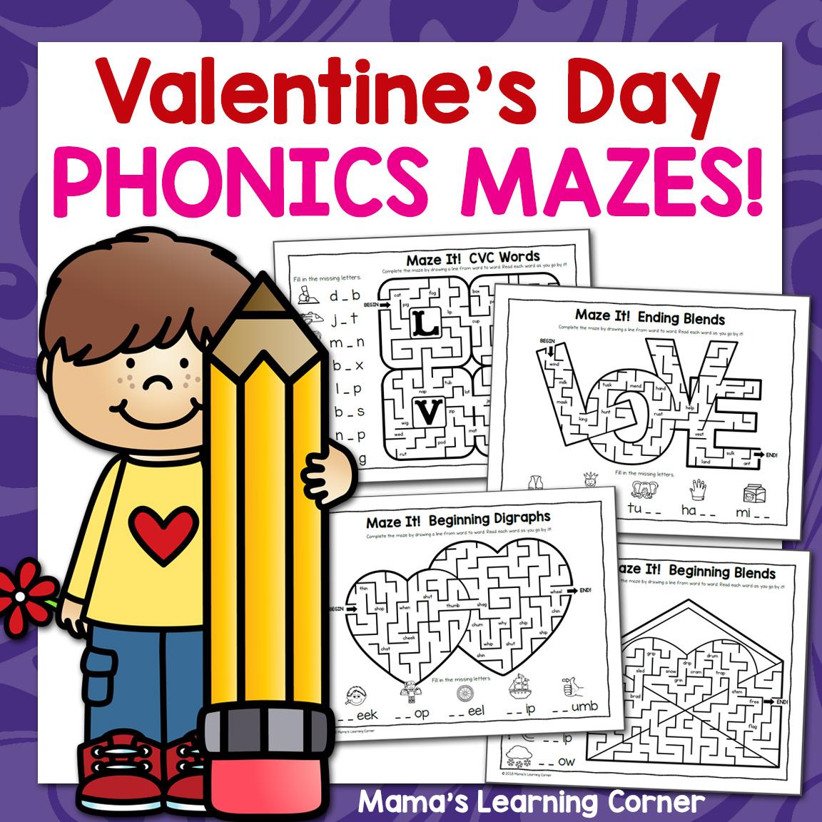 Phonics Mazes For Valentine S Day