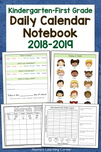 Kindergarten-First Grade Calendar Notebook