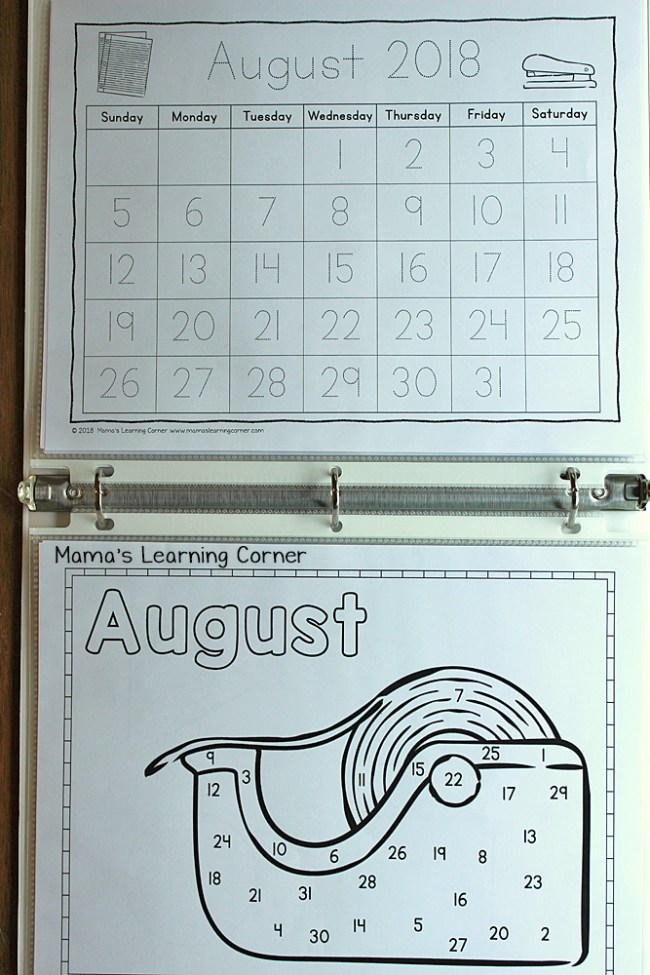 Preschool Calendar Notebook 2018 2019 Day and Month