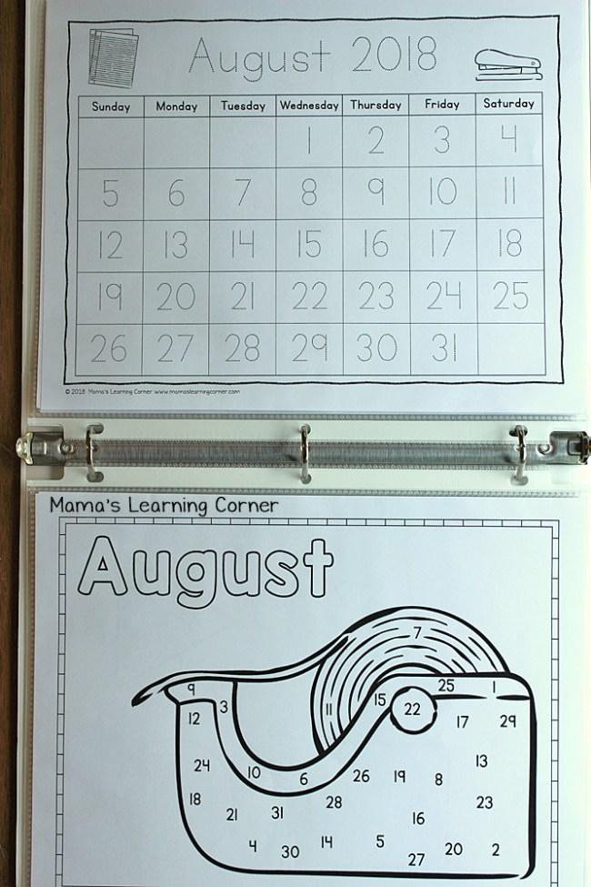 Preschool Calendar Notebook 2018 2019 Day and Month