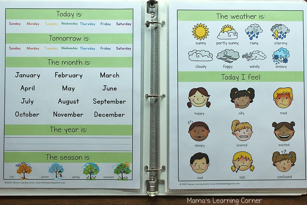 Preschool Calendar Notebook 2018 2019 Days and Weather