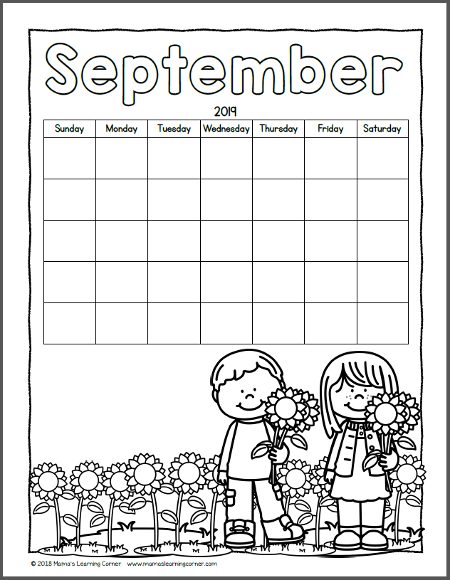 Color Your Own Calendar September