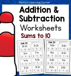 Dab It! Addition and Subtraction Worksheets - Mamas Learning Corner [ 1152 x 1152 Pixel ]