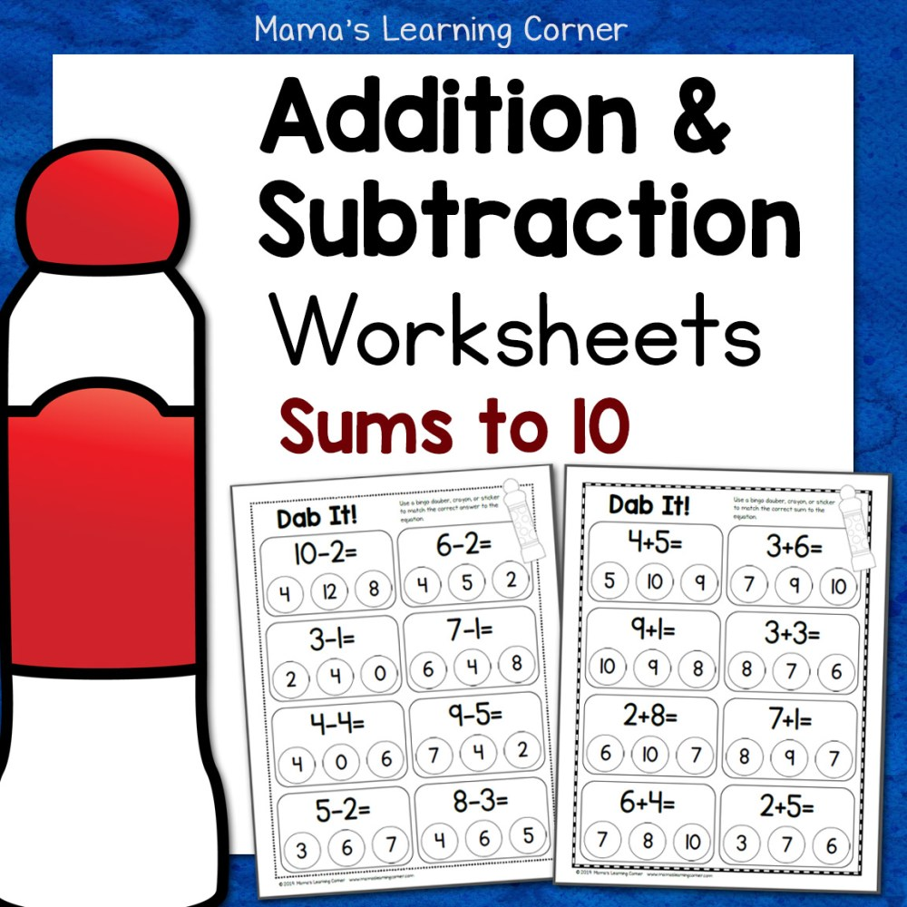 medium resolution of Dab It! Addition and Subtraction Worksheets - Mamas Learning Corner