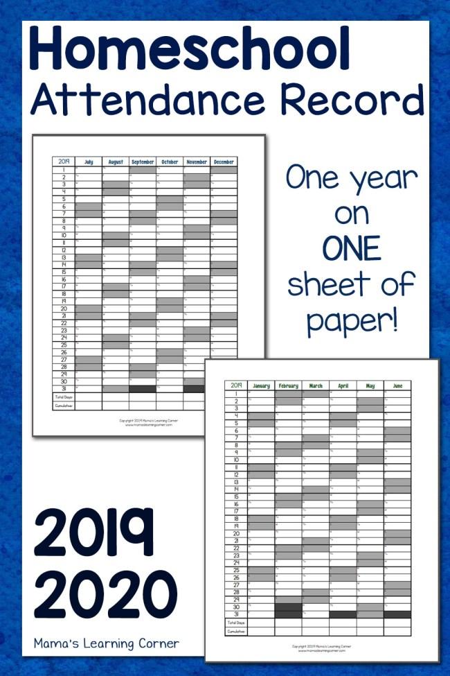 simple homeschool attendance record 2019-2020