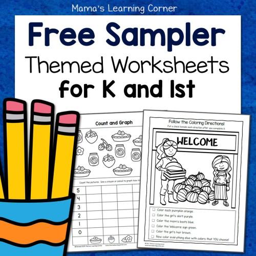 Free Sampler Packet Themed Worksheets K and 1st