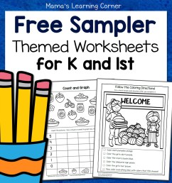 Free Kindergarten and First Grade Worksheet Sampler Packet - Mamas Learning  Corner [ 1152 x 1152 Pixel ]