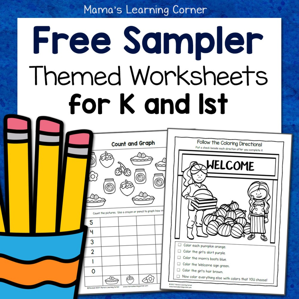 medium resolution of Free Kindergarten and First Grade Worksheet Sampler Packet - Mamas Learning  Corner