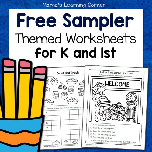 small resolution of Free Kindergarten and First Grade Worksheet Sampler Packet - Mamas Learning  Corner