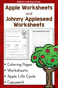 Apple Worksheets and Johnny Appleseed Worksheets