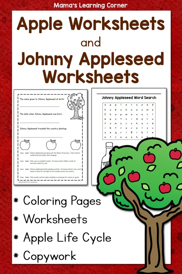 Apple Worksheets and Johnny Appleseed Worksheets - Mamas Learning