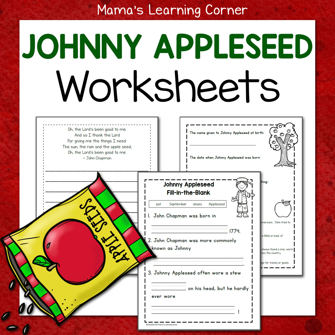Johnny Appleseed Worksheets