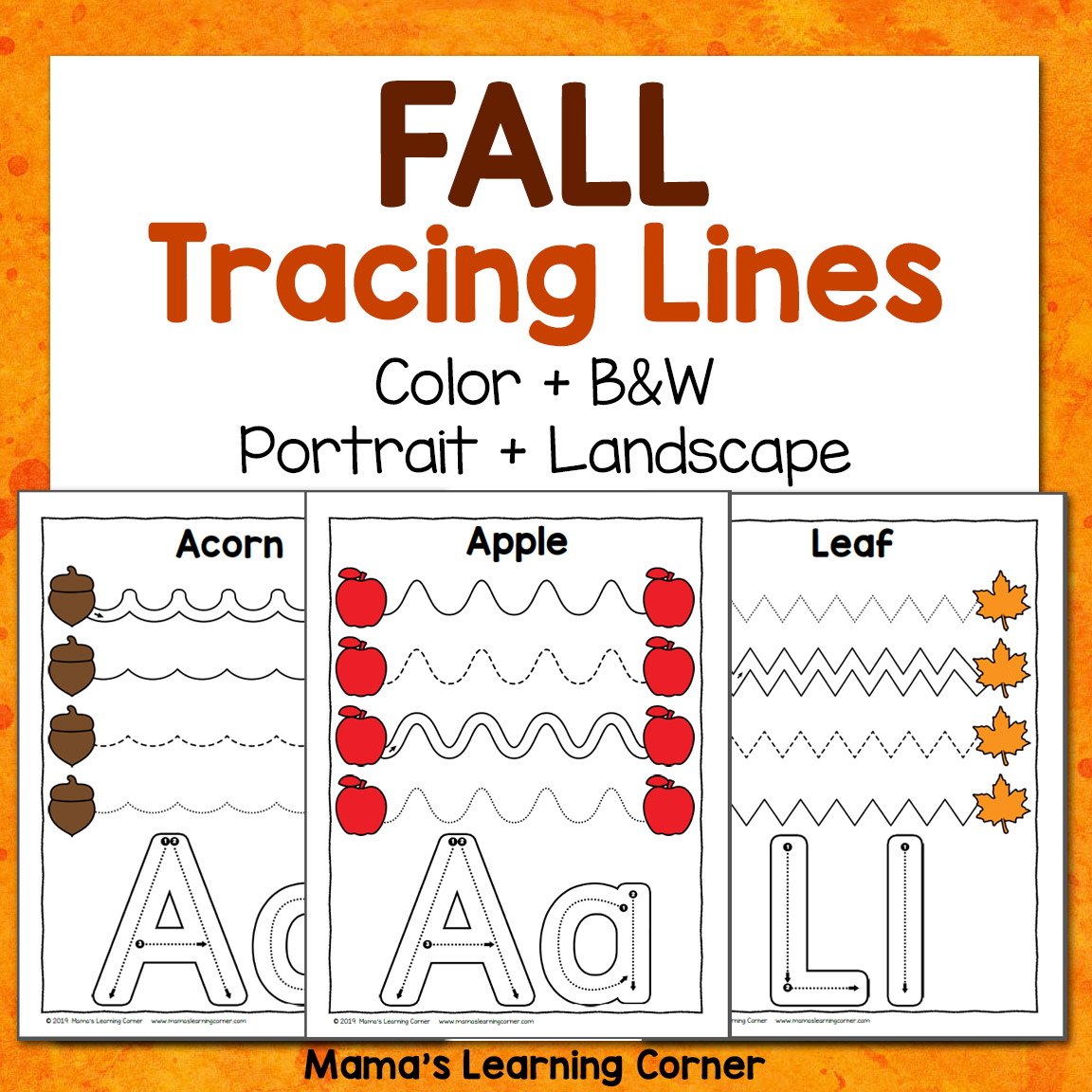 Fall Tracing Worksheets For Preschool