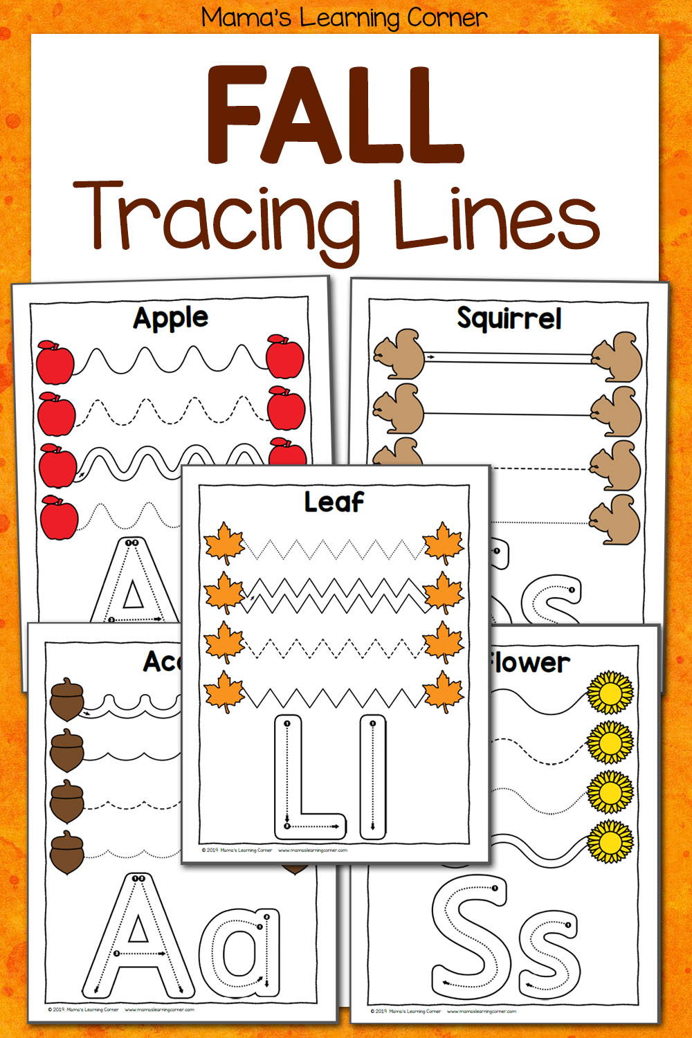 Fall Tracing Worksheets for Preschool - Mamas Learning Corner