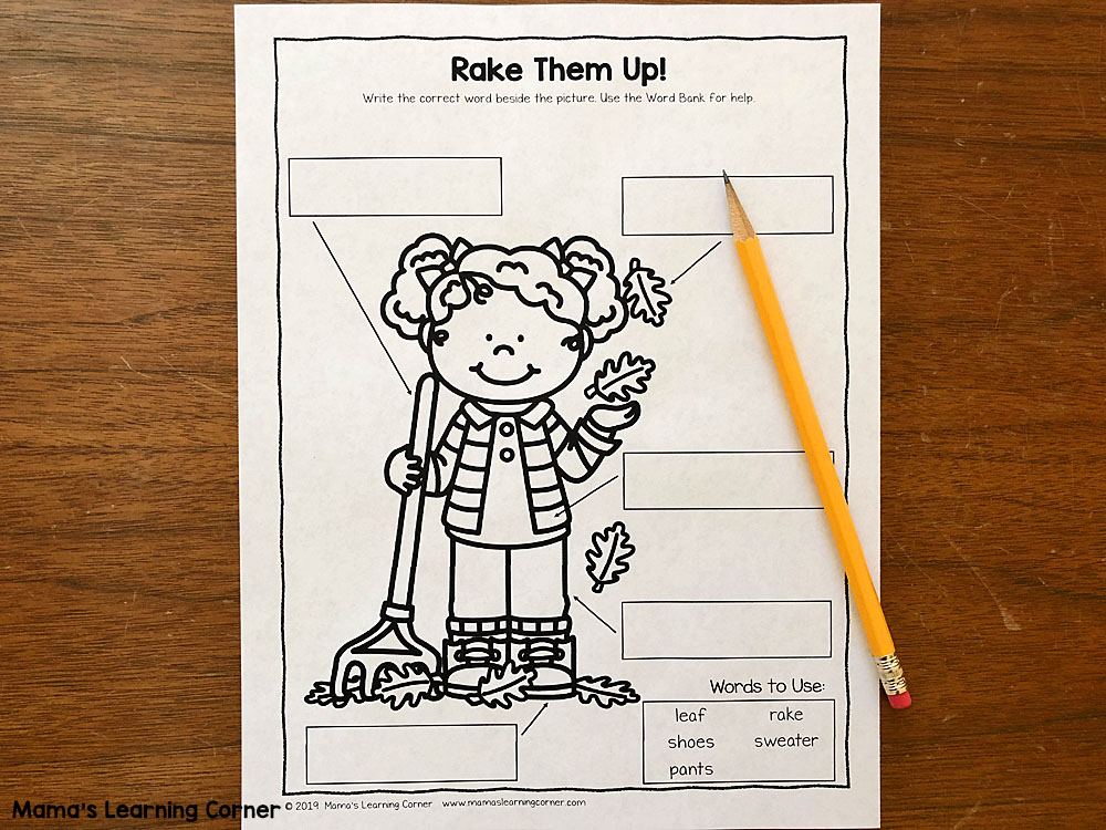 Label the Picture Fall Worksheets