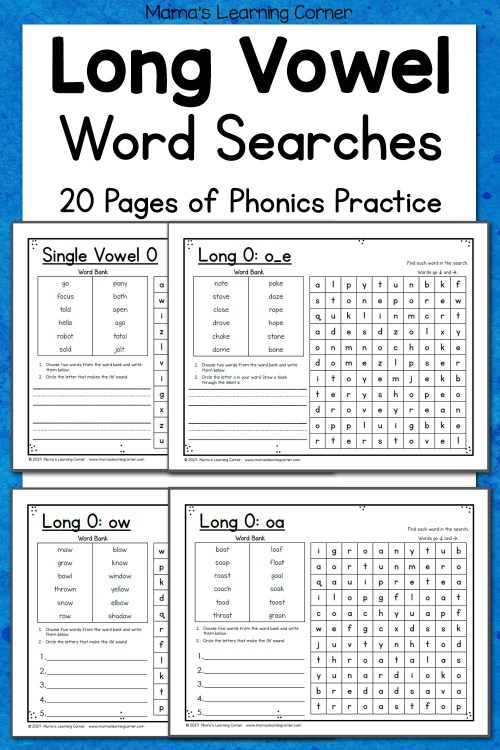 small resolution of Long Vowel Word Search Puzzles - Mamas Learning Corner
