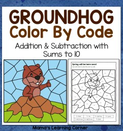 Groundhog Day Color By Code Worksheets - Mamas Learning Corner [ 1152 x 1152 Pixel ]