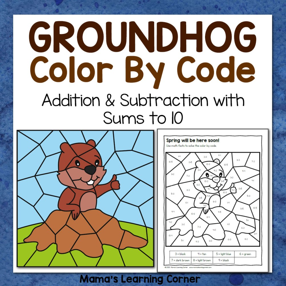 medium resolution of Groundhog Day Color By Code Worksheets - Mamas Learning Corner