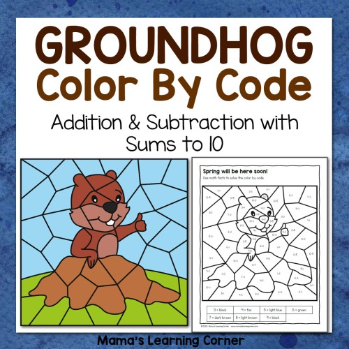 small resolution of Groundhog Day Color By Code Worksheets - Mamas Learning Corner