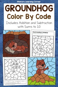 Groundhog Day Color By Code Worksheets