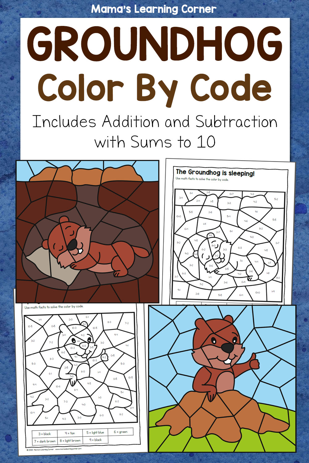 hight resolution of Groundhog Day Color By Code Worksheets - Mamas Learning Corner