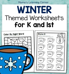 Winter Worksheets for Kindergarten and First Grade - Mamas Learning Corner [ 1152 x 1152 Pixel ]