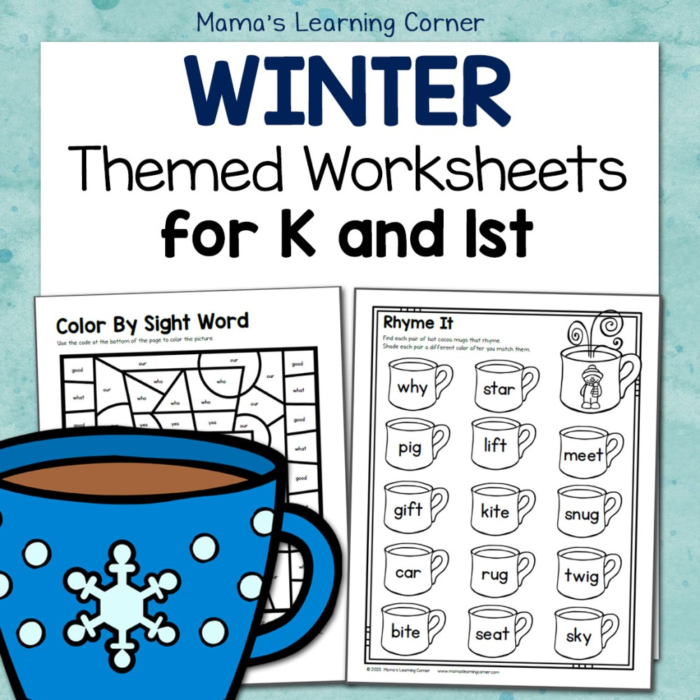medium resolution of Winter Worksheets for Kindergarten and First Grade - Mamas Learning Corner